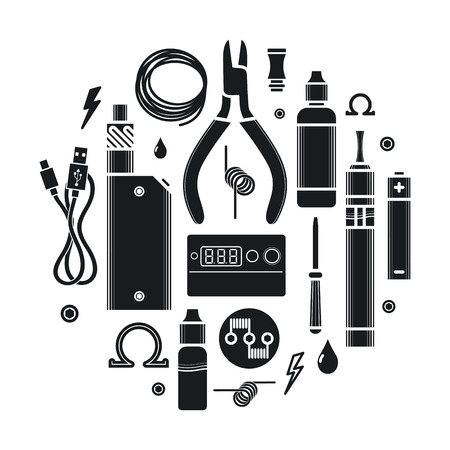 e cigarette: Vector illustration of vape and accessories. Vape icons set Isolated on white background.