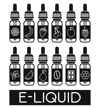 glycerol: Icons of  E-Liquid. Vector E-Liquid illustration of different flavor.Liquid to vape. The taste of the electronic cigarette Illustration