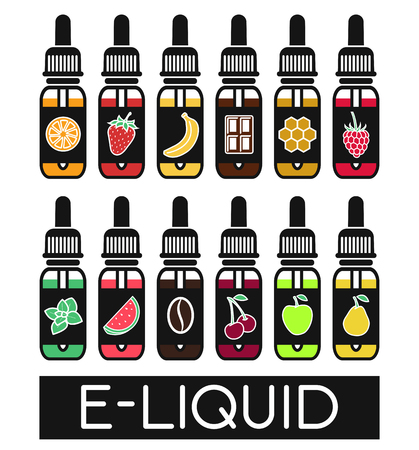 Icons of  E-Liquid. Vector E-Liquid illustration of different flavor.Liquid to vape. The taste of the electronic cigarette Vectores