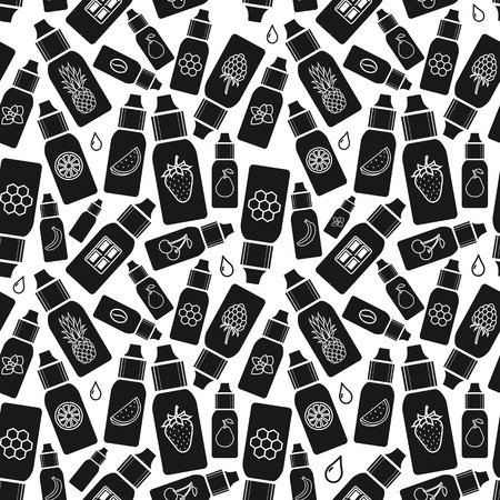 vector seamless pattern of different flavor liquid to vape