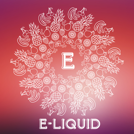 e cig: Vector E-Liquid illustration of different flavor. Liquid to vape. Taste of electronic cigarette, isolated on blurred background