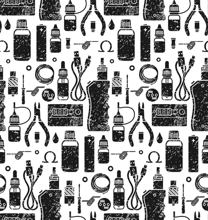 background e cigarette: Vector seamless pattern for vape shop and vape service, e-cigarette store, isolated on white background. Endless background. Illustration