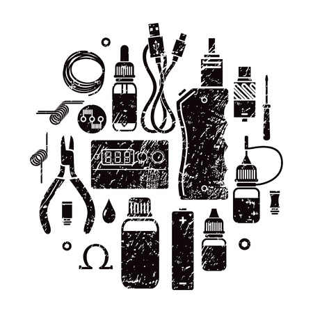 e cig: Vector illustration of vape and accessories. Vape icons set Isolated on white background.