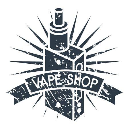 e liquid: Vector illustration of vape. Dark print on white background Illustration