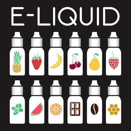 Vector E-Liquid illustration of different flavor. Liquid to vape. Taste of electronic cigarette