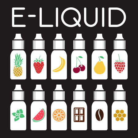 flavor: Vector E-Liquid illustration of different flavor. Liquid to vape. Taste of electronic cigarette