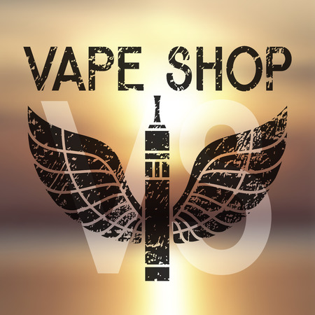 e cig: Vector emblem of vape. Print on blurred background