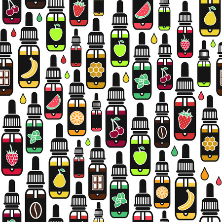 e liquid: seamless pattern of different flavor. The taste of the electronic cigarette, pattern of  E-Liquid. Color print on white background