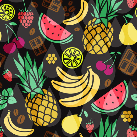 flavor: Endless background. seamless pattern of different flavor. Illustration