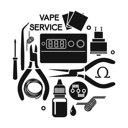 e liquid: illustration of vape service. Vape icons set Isolated on white background Illustration