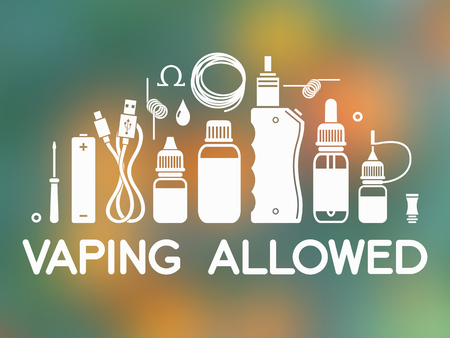 icons set with text vaping allowed. Isolated on blurred background