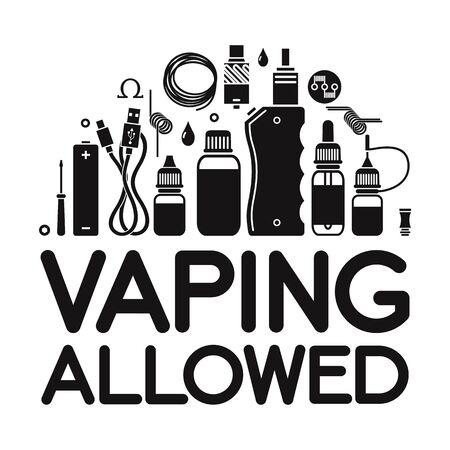 e cig: icons set with text vaping allowed. Isolated on white background Illustration