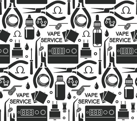 e liquid: seamless pattern of vape service, e-cigarette store, isolated on white background.