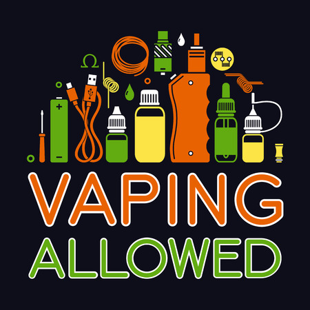 glycol: Vector icons set with text vaping allowed. Isolated on black background Illustration