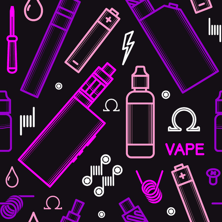 vaporizer: Vector seamless pattern for vape shop and vape service, e-cigarette store, isolated on black background. Illustration