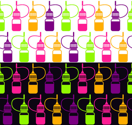 vaporizer: Seamless pattern of e-liquid,  isolated on white and black background Illustration