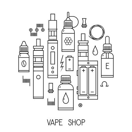 eliquid: Illustration of vape and accessories for vape shop, e-cigarette store. Vape icons set Isolated on white background.