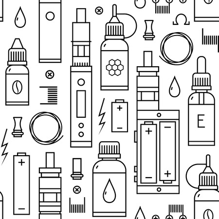 propylene: Seamless pattern for vape shop and vape service, e-cigarette store, isolated on white background.