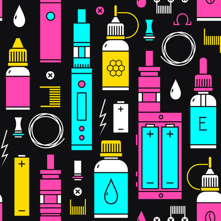 vaporizer: Seamless pattern for vape shop and vape service, e-cigarette store, isolated on black background