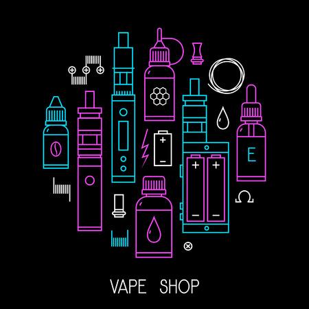 propylene: Vape icons set Isolated on black background. Illustration
