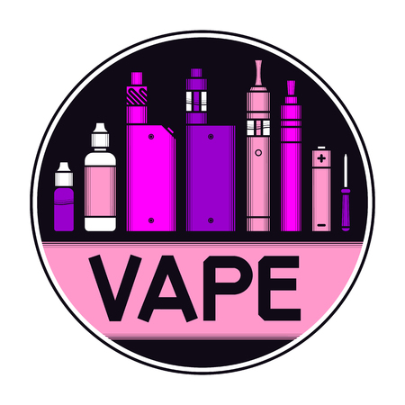 ohm: illustration of vape and accessories. Vape icons set isolated on black background for vape shop and vape service, e-cigarette store