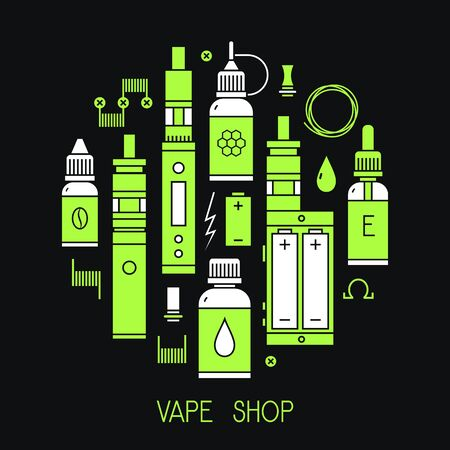 glycerin: illustration of vape and accessories for vape shop, e-cigarette store. Vape icons set Isolated on black background