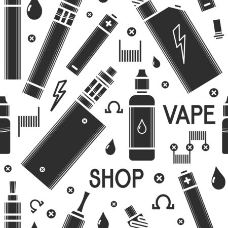 eliquid: seamless pattern for vape shop and vape service, e-cigarette store. Print isolated on white background. Illustration of electronic cigarette and accessories. Illustration