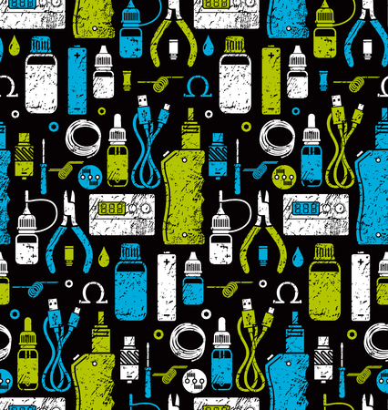 background e cigarette: Vector seamless pattern for vape shop and vape service, e-cigarette store, color print isolated on black background. Endless background.