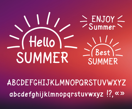 sans: Vector hand-drawn letters. Sans serif. Uppercase and lowercase letters. Doodle type. White print on blurred background. Hallo summer