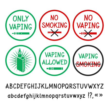 allowing: Prohibition signs. No smoking, no vaping. Allowing signs. Vaping allowed. Vector hand-drawn letters.
