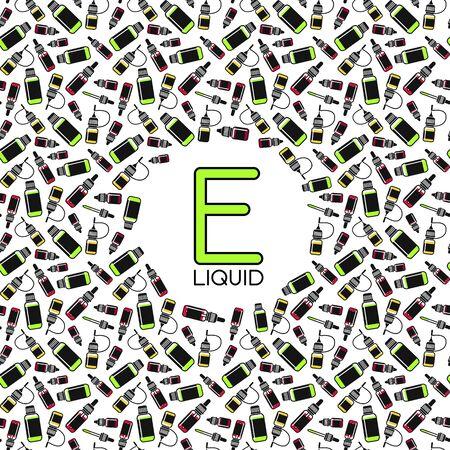 eliquid: Vector seamless pattern of e-liquid for vape shop, e-cigarette store. Color print on white background Illustration