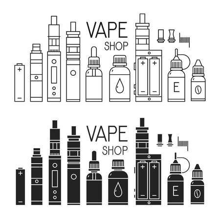 Vector icons of vape and accessories for vape shop, e-cigarette store. Isolated on white background.