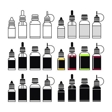 propylene: Vector icons of e-liquid. Print on white background