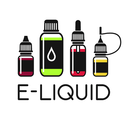 propylene: Vector icons of e-liquid. Color print on white background