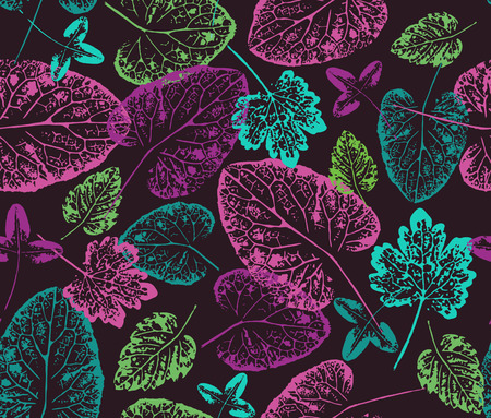 imprints: Bright autumn. Seamless handcrafted pattern with autumn leaves.Leaves imprints on black background. Vector seamless pattern Illustration