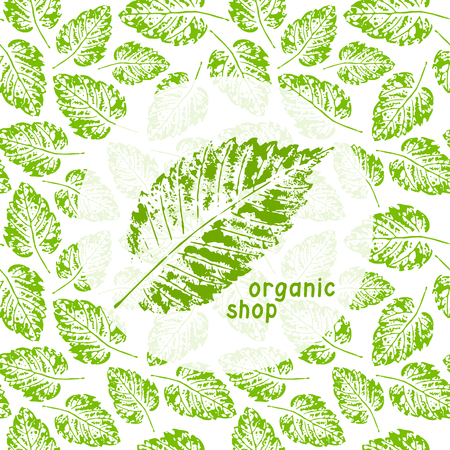 organic background: Organic shop illustration for natural products, organic. Floral elements and grungy texture. Vector grunge leaves. Leaf stamp on white background. Green shop design template. Organic background. Vector illustration Illustration