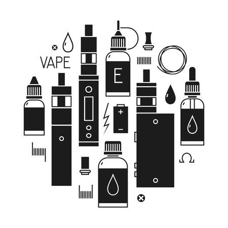 eliquid: Vape icons set Isolated on white background