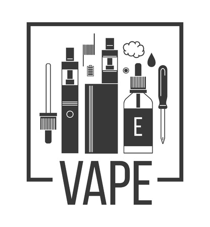 glycol: Vector illustration of vape and accessories for vape shop, e-cigarette store. Icons set on white background.