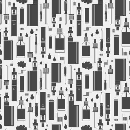 glycol: Vector seamless pattern of vape and accessories. Isolated on white background. Endless background electronic cigarette. Icons pattern for vape shop, e-cigarette store