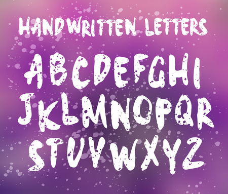 english textures: Vector handwritten letters. Sans serif. Uppercase letters. Doodle type and splatter texture. White print on blurred background Illustration