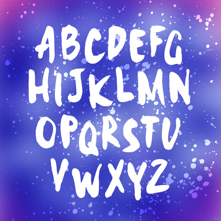 english textures: Vector handwritten letters. Sans serif. Uppercase letters. Doodle type and splatter texture. White print on blurred background. Illustration