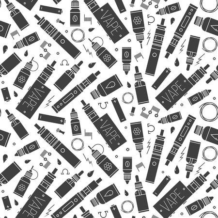 seamless pattern for vape shop and vape service, e-cigarette store. Illustration