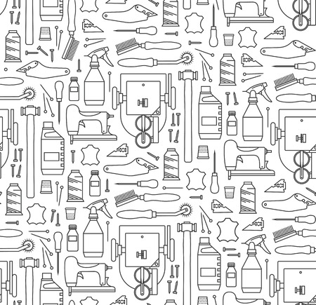 awl: seamless pattern of furriers tools. Print on white background Illustration
