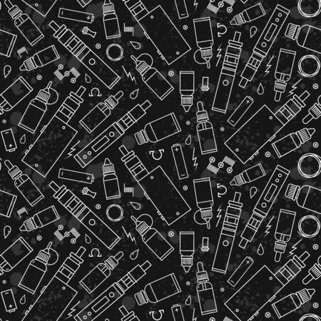 glycol: seamless pattern for vape shop and vapor bar, e-cigarette and e-liquid store, isolated on texture grunge background. Wrapping paper pattern Illustration
