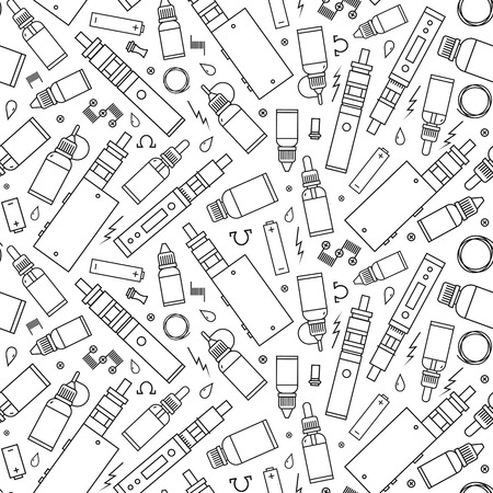 glycol: seamless pattern for vape shop and vape service, e-cigarette store. Wrapping paper pattern black print isolated on white background. Illustration