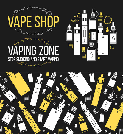 eliquid: seamless pattern and icons set for vape shop and e-cigarette store Illustration