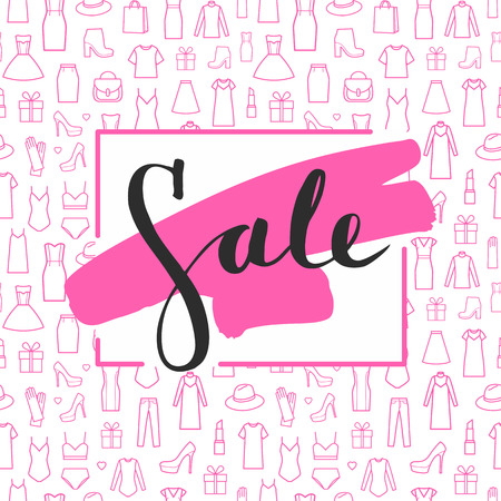 Sale lettering on brushstroke. Caption sale. The trend calligraphy. Vector illustration on white background with a smear of pink ink. Concept advertising. Excellent gift card. Seamless pattern of women's clothing and accessories