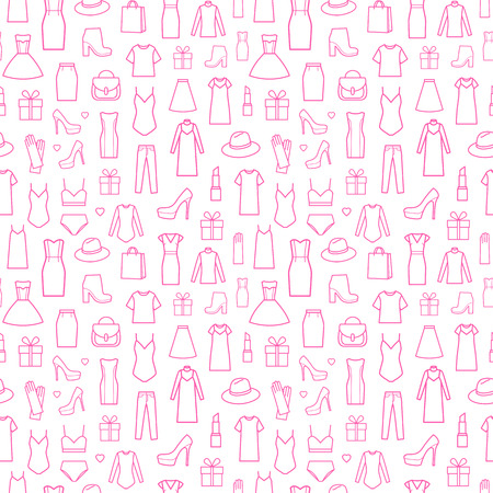 Vector seamless pattern of  womens clothing and accessories. Pink print on white background. Fashion icons in seamless pattern Illustration