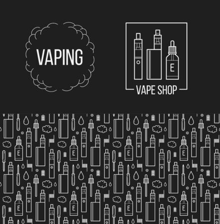 vaporizer: Vector seamless pattern and icons set for vape shop and e-cigarette store. For website construction, mobile applications, banners, corporate brochures, layouts