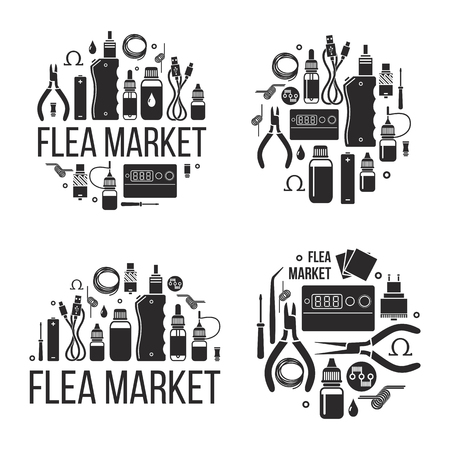 Flea market of vape. Icons isolated Illustration